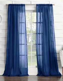 """No. 918 Avril Crushed Sheer Rod-Pocket Curtain Panel 50""""Wx84"""