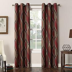 No. 918 Intersect Wave Print Casual Textured Curtain Panel,