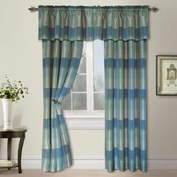 United Curtain Plaid Window Curtain Panel, 54 by 63-Inch, Bl