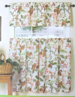 Elrene Printed Curtains Tier and Valance 3 pc Set NEW Rustic