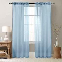 jinchan Rod Pocket Sheer Curtains 95 inch Length for Living