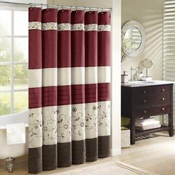 Madison Park Serene Flora Fabric Shower Curtain, Embroidered