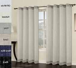 Urbanest Set of 2 Faux Linen Sheer Curtain Panel with Gromme