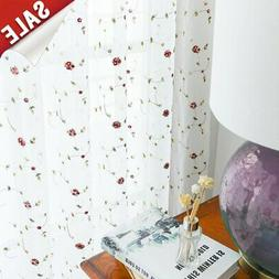 jinchan Sheer Curtains Floral Embroidered for Living Room Re