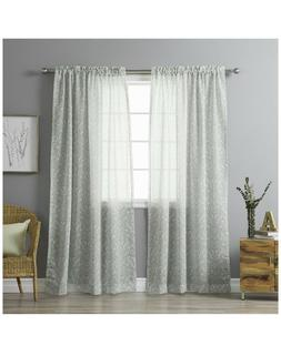 Best Home Fashion Sheer Ikat Printed Curtains - Rod Pocket -