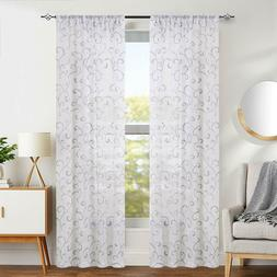 Sheer Swirl Embroidered Rod Pocket Curtains for Bedroom Livi