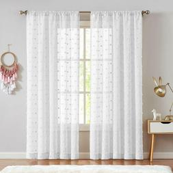 Sheer Window Curtains Textured Rod Pocket Voile Bedroom Embr
