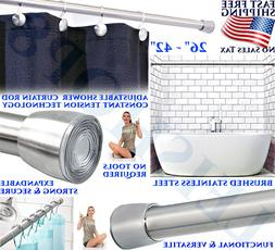 SHOWER CURTAIN ROD ADJUSTS CONSTANT TENSION NON SLIP EASY IN