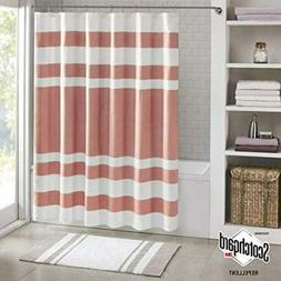 Madison Park Spa Waffle Weave Striped Fabric Shower Curtain,