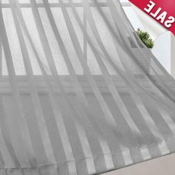 Striped Sheer Curtains for Bedroom Rod Pocket Window Treatme
