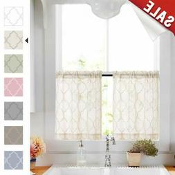 Tier Curtains 24 Inch Beige Rod Pocket Sheer Curtain Set For