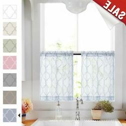 Tier Curtains 24 Inch Blue Rod Pocket Sheer Curtain Set For