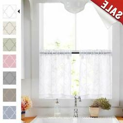 Tier Curtains 24 Inch White Rod Pocket Sheer Curtain Set For