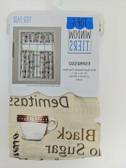 Top Window Kitchen Rod Valance and 2-pk Tier Cafe Curtains C