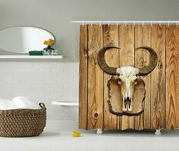 Ambesonne Western Shower Curtain, Buffalo Bull Skull with Ho