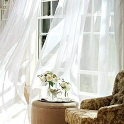 jinchan White Sheer Curtains 95 inches Long for Living Room