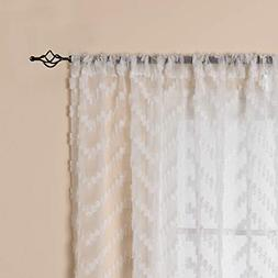 White Sheer Window Curtains Textured Rod Pocket Voile Curtai