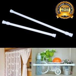 White Spring Heavy duty Tension Curtain Rod Adjustable Width