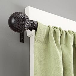 Kenney Woven Ball Weathered Window Curtain Rod, 28 to 48-Inc